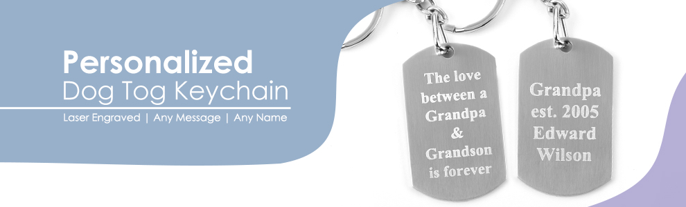 Personalized Dog Tag Keychain