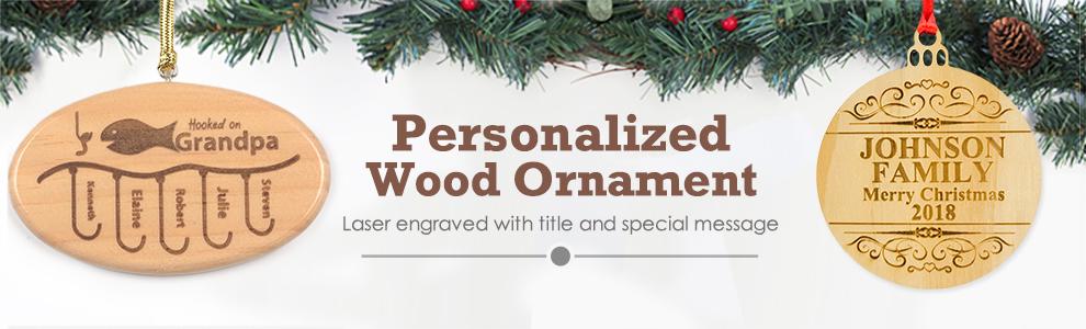 Custom Wood Laser Engrave Ornaments