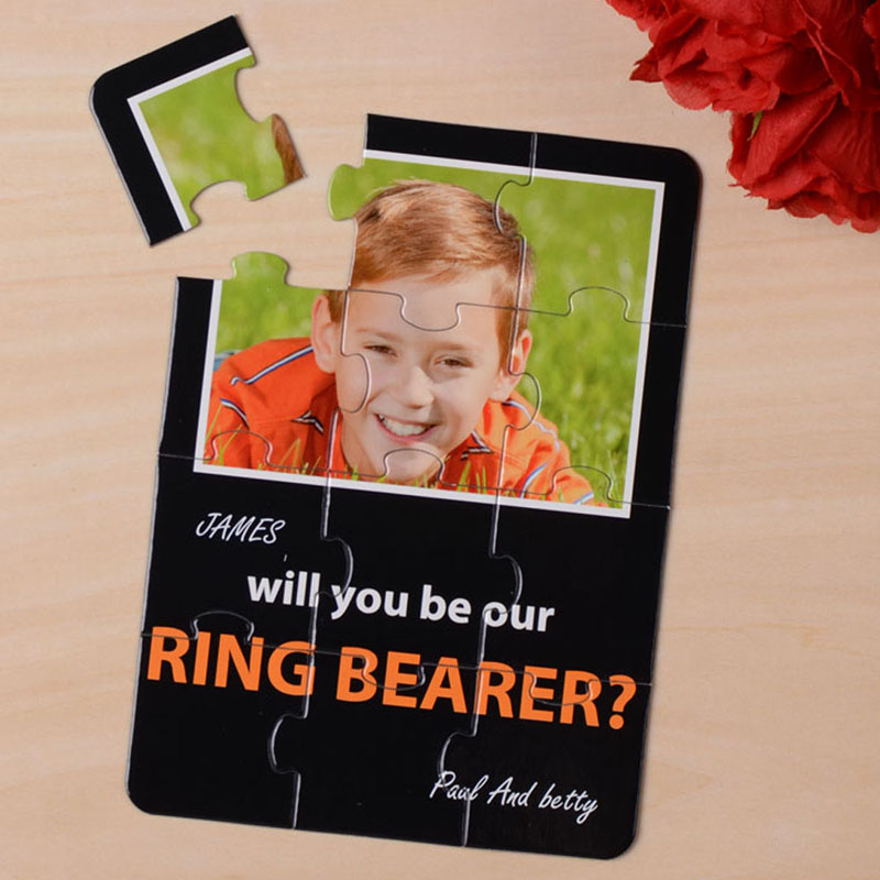 Elegant Black Will you be my Ring Bearer Puzzle Card