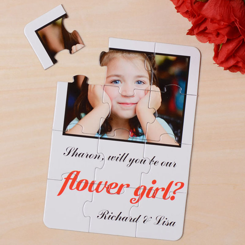 Plain White Will you be my Flower Girl Puzzle Card