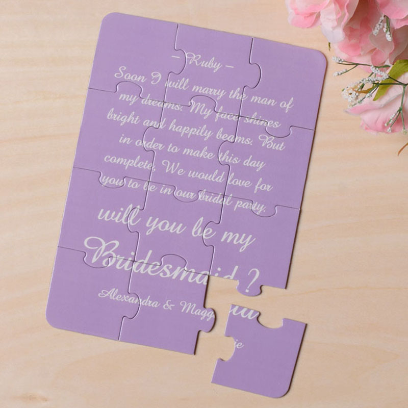 Personalized Background And Words Will You Be My Bridesmaid Puzzle Card