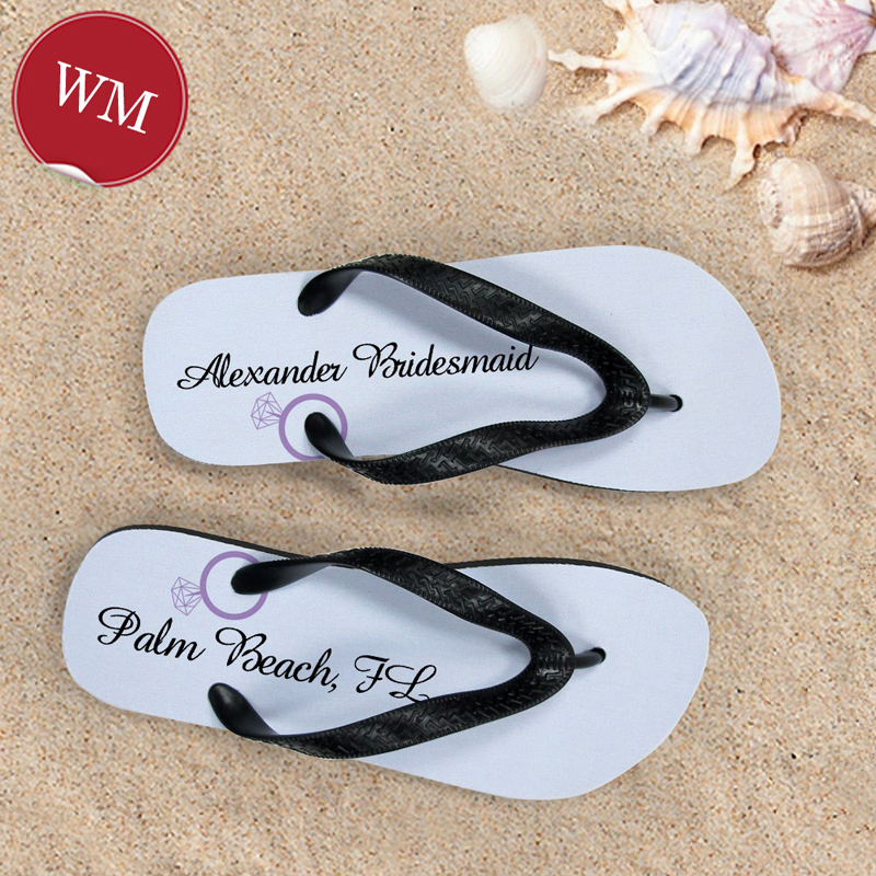 7e7cf9b202821 Lavender Wedding Ring Personalized Flip Flops