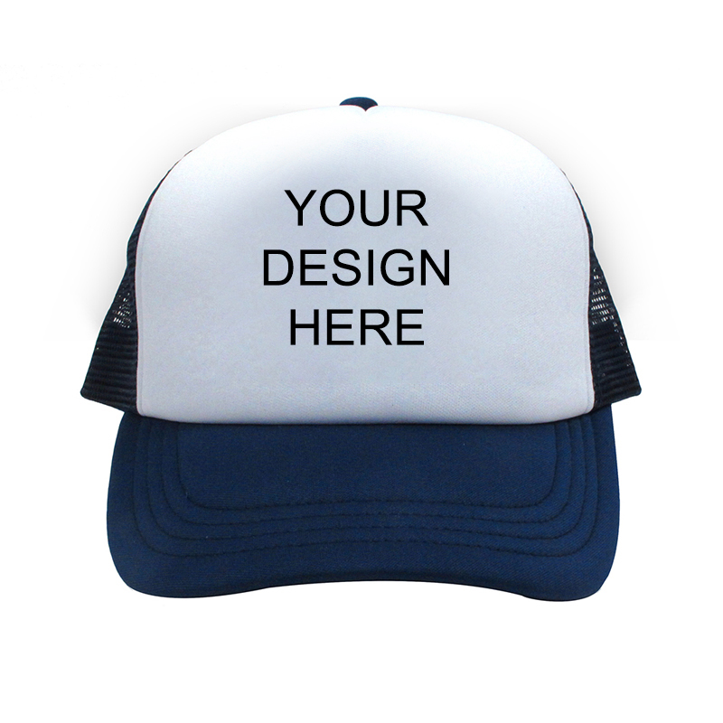 33609ce226ab2 Custom Design Full Color Print Navy Trucker Hat