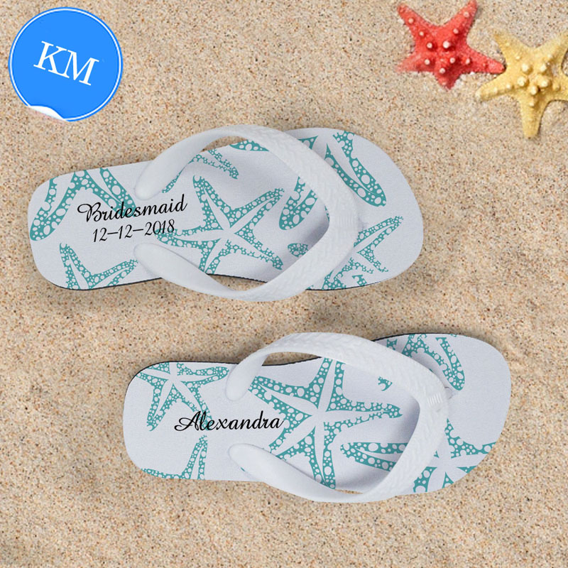 5b2d8218f6eb3 Design My Own Aqua Starfish White Stripes Kids Medium Flip Flops