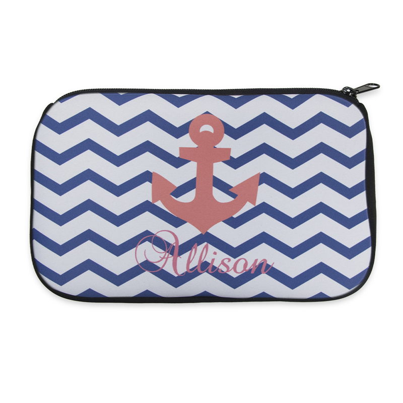 1b255ae34f8b Personalized Neoprene Navy Chevron Carol Anchor Cosmetic Bag (6 ...