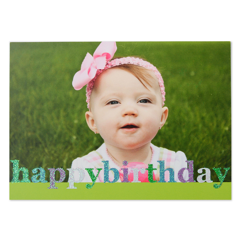 Create Your Own Glitter Happy Birthday Personalized Photo Cards