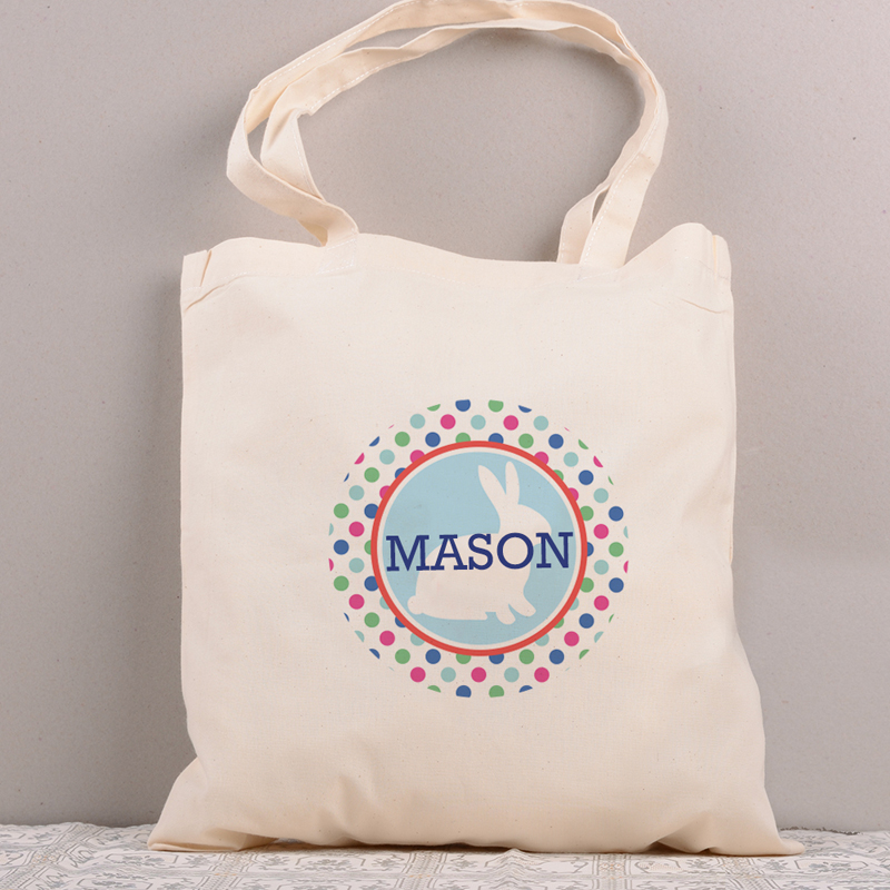 Kids Cotton Tote with Polka Dot Egg Item 1263J Personalized Easter Tote Bag
