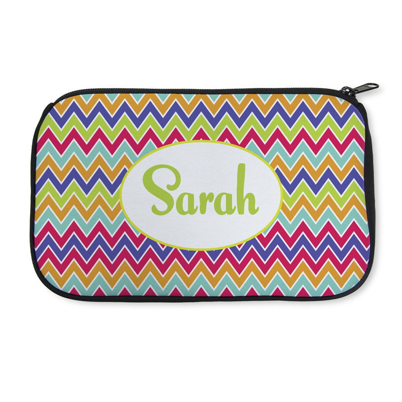 d36e9357ac75 Personalized Neoprene Colorful Chevron Cosmetic Bag (6 X 10 Inch)