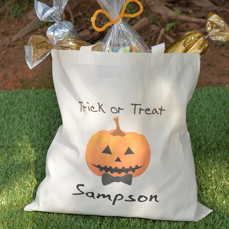 Halloween Trick Or Treat Bags Personalized.Pumpkin Personalized Halloween Trick Or Treat Bag For Boys