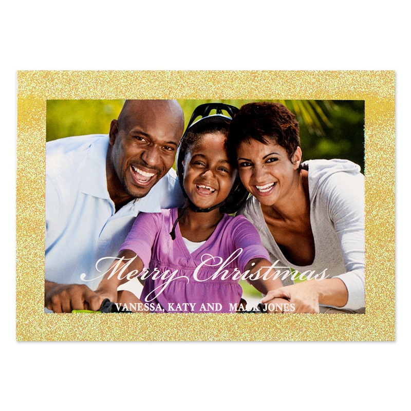 Glitter Gold Border Personalized Photo Christmas Card Small