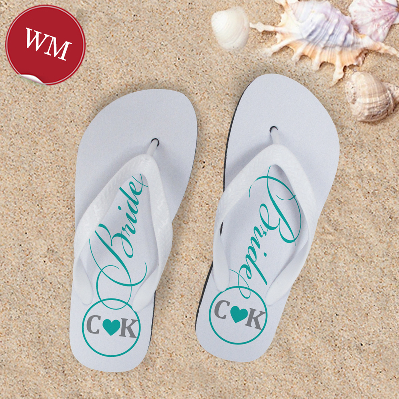 942e51c22 Mint Bride Personalized Wedding Flip Flops