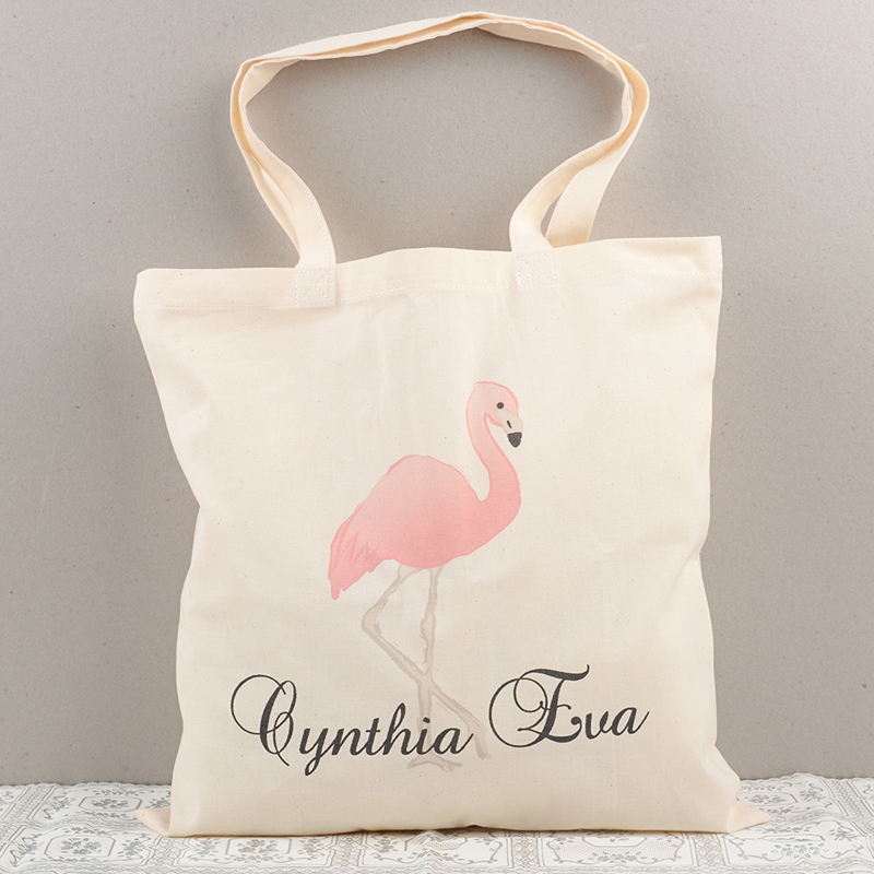 Flamingo cloth bag with name