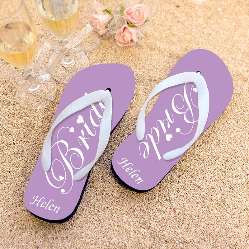 fd168eb43818 Lavender Bride Personalized Wedding Flip Flops
