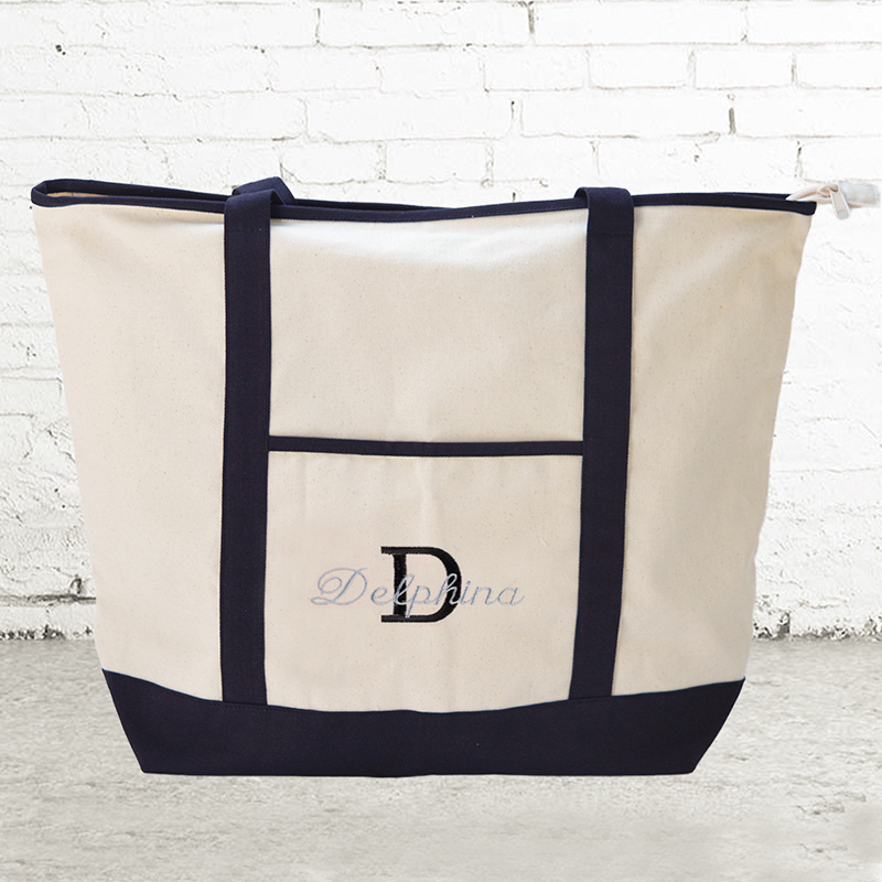 d84fea4db Name & Initial #1 Personalized Black Canvas Tote Bag (Large)