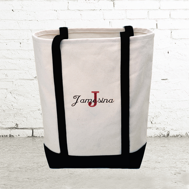 397a66413 Name & Initial #1 Personalized Black Canvas Tote Bag (Medium)