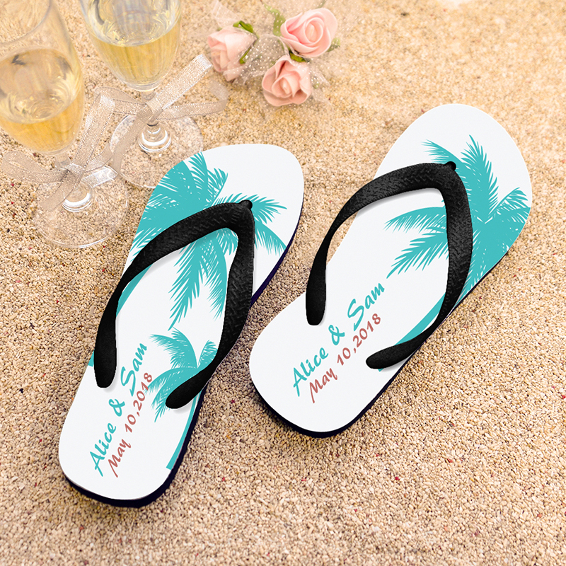 3ae4a16700a157 Palm Tree Personalized Beach Wedding Flip Flops Black Strap