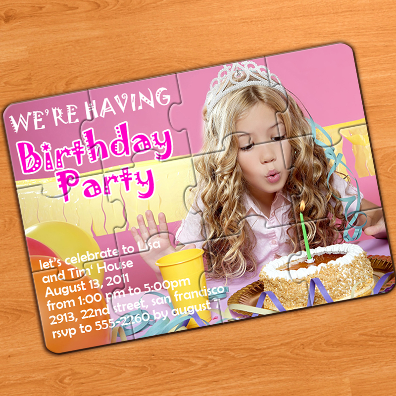 My Party Small Puzzle Invitation Include Envelopes