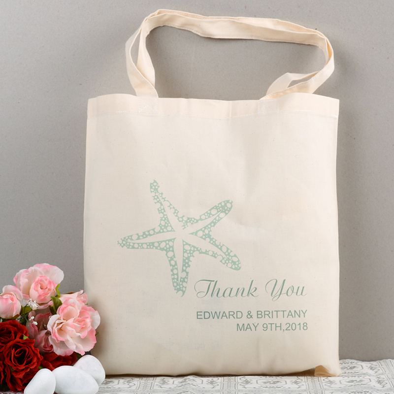 Personalized Starfish Beach Wedding tote cotton canvas bag for ... 043c97585041e
