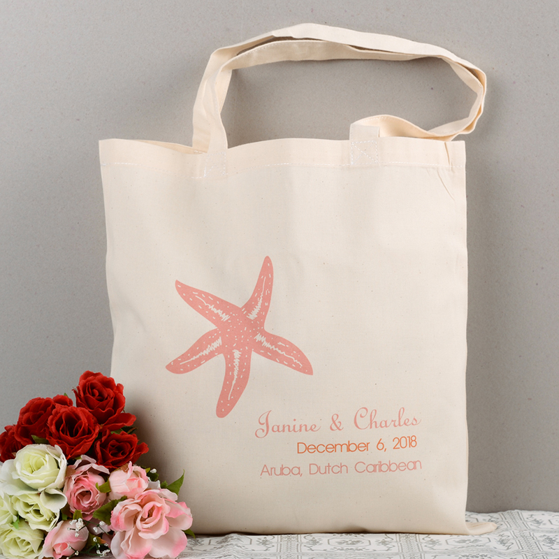 Personalized Pink Starfish Beach Lover Wedding tote cotton canvas ... c5ad13c18e597