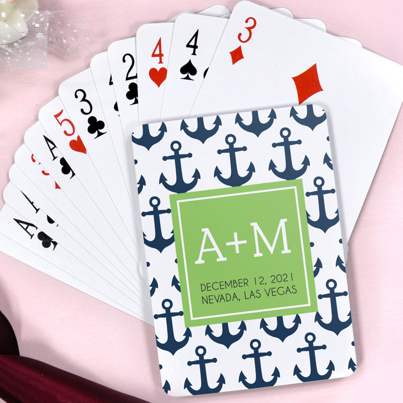 Navy And Green Ships Anchor Personalized Beach Destination Wedding Playing Cards Gift