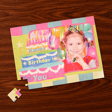 Personalized Birthday Cake 12X16.5 Jigsaw Puzzle