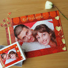 Personalized Red Valentine Personalized Photo Puzzle 12X16.5 Jigsaw Puzzle