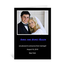 Personalized Classic Black Wedding Photo Cards, 5X7 Portrait Folded