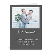 Personalized Classic Grey Wedding Photo Cards, 5X7 Portrait Folded