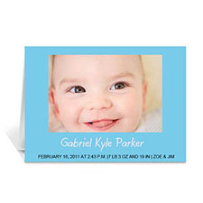 Baby Blue Photo Cards, 5x7 Folded