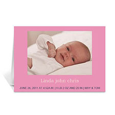 Personalized Baby Pink Photo Cards, 5X7 Folded