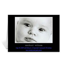 Personalized Classic Black Baby Photo Cards, 5X7 Folded