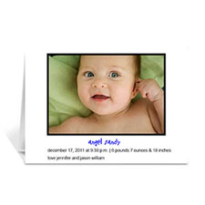Personalized White Photo Cards For New Baby Announcement