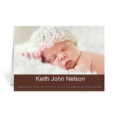 Personalized Chocolate Brown Baby Photo Cards, 5X7 Portrait Folded Simple