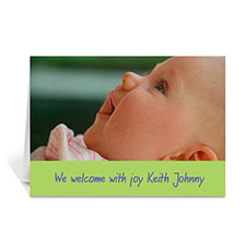Personalized Lime Baby Photo Cards, 5X7 Portrait Folded Simple