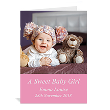 Personalized Baby Pink Photo Cards, 5X7 Portrait Folded Simple