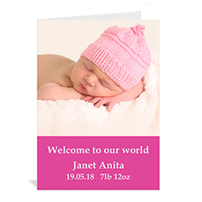 Personalized Hot Pink Baby Photo Cards, 5X7 Portrait Folded Simple