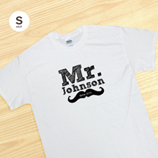Custom Mr. For The Groom Husband, White Adult Small T Shirt