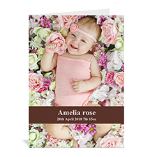 Personalized Chocolate Brown Baby Photo Cards, 5X7 Portrait Folded Causal