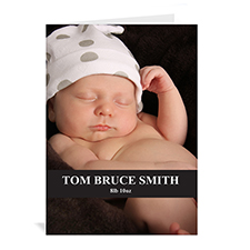 Personalized Classic Black Baby Photo Cards, 5X7 Portrait Folded Causal