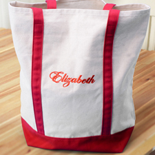 Embroidery Tote Medium Red