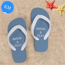 Design My Own Two Images Kids Medium Color White Flip Flops