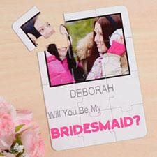 White Will You Be My Bridesmaid Invitation Puzzle