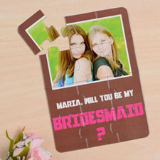 Personalized Brown Will You Be My Bridesmaids Invitation Puzzle