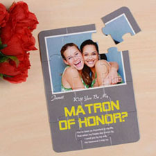 Personalized Gray Will You Be My Maid Of Honor Invitation Puzzle