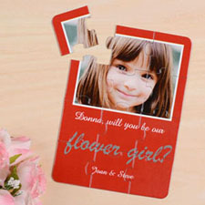 Personalized Red Will You Be My Flower Girls Invitation Puzzle