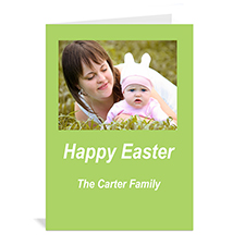 Personalized Easter Green Photo Invitation Cards, 5X7 Portrait Folded