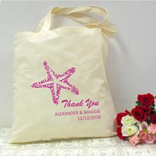 Personalized Fuchsia Starfish Beach Lover Wedding