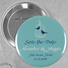 Love Birds Vintage Case Custom Button Pin, 2.25