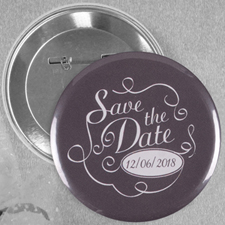Chalkboard Save The Date Custom Button Pin, 2.25