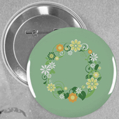 Spring Floral Wedding Custom Button Pin, 2.25